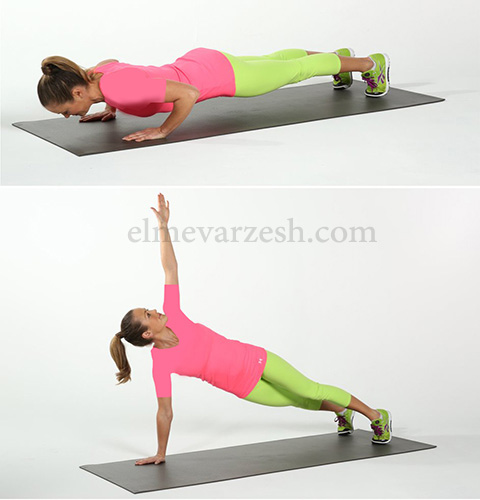 Push Up Rotate ۸ تمرین بدنسازی با وزن بدن بدون وسیله – عکسی