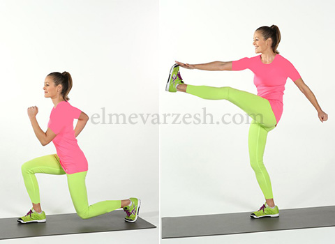 Reverse Lunge Kick ۸ تمرین بدنسازی با وزن بدن بدون وسیله – عکسی