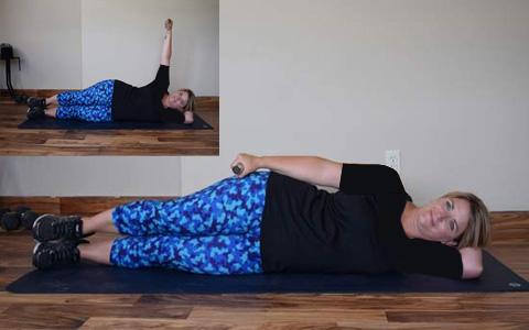 Side Lying Lateral Arm Raise1 ۹ حرکت بدنسازی جهت تناسب اندام کل بدن