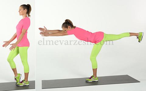Single Leg Forward Reach ۸ تمرین بدنسازی با وزن بدن بدون وسیله – عکسی