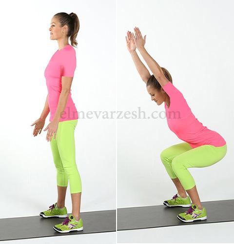 Squat Reach ۸ تمرین بدنسازی با وزن بدن بدون وسیله – عکسی